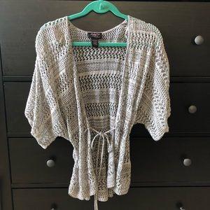 Sweaters - Gray Crocheted Short Sleeve Light Sweater